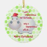 Ornamento del navidad del Hippopotamus del dibujo  Ornamentos De Navidad