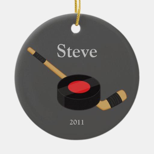 Ornamento del navidad del hockey adorno navideño redondo de cerámica