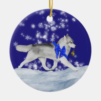 Ornamento del navidad del husky siberiano adorno navideño redondo de cerámica