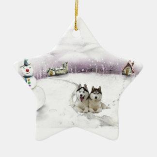 Ornamento del navidad del husky siberiano adorno de cerámica en forma de estrella
