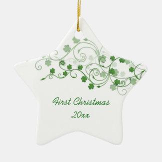 Ornamento del navidad del irlandés del trébol adorno de cerámica en forma de estrella