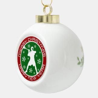 Ornamento del navidad del jugador de LaCrosse Adorno De Cerámica En Forma De Bola