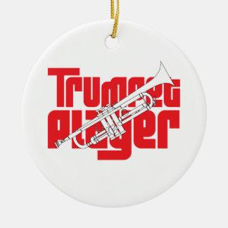 Ornamento del navidad del jugador de trompeta adorno redondo de cerámica