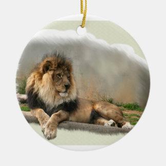 Ornamento del navidad del león en descanso adornos de navidad