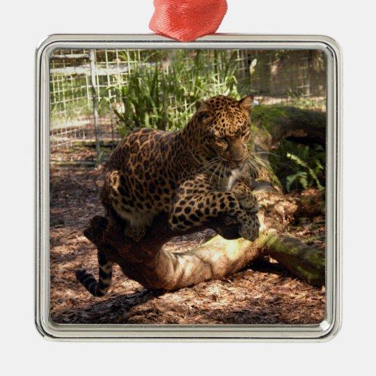 Ornamento del navidad del leopardo adorno navideño cuadrado de metal