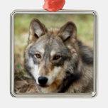 Ornamento del navidad del lobo gris ornamento de navidad