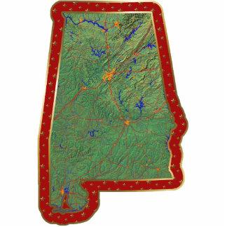 Ornamento del navidad del mapa de Alabama cortado Escultura Fotografica