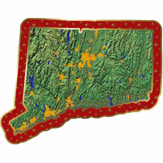 Ornamento del navidad del mapa de Connecticut Adorno Fotoescultura