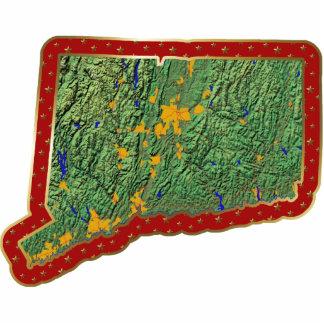Ornamento del navidad del mapa de Connecticut cort Esculturas Fotográficas