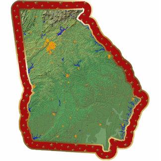 Ornamento del navidad del mapa de Georgia cortado Escultura Fotografica