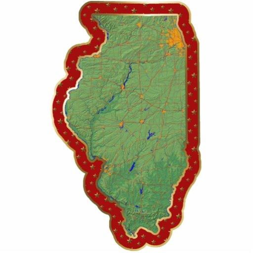 Ornamento del navidad del mapa de Illinois cortado Escultura Fotográfica