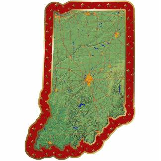 Ornamento del navidad del mapa de Indiana cortado Escultura Fotografica