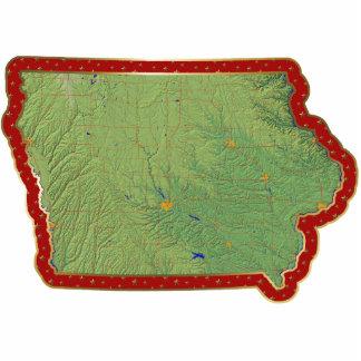 Ornamento del navidad del mapa de Iowa cortado Adorno Fotoescultura