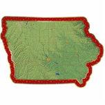 Ornamento del navidad del mapa de Iowa cortado Escultura Fotografica