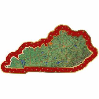 Ornamento del navidad del mapa de Kentucky cortado Escultura Fotográfica