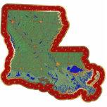 Ornamento del navidad del mapa de Luisiana cortado Escultura Fotográfica