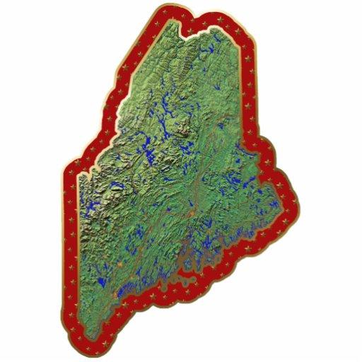 Ornamento del navidad del mapa de Maine cortado Esculturas Fotográficas