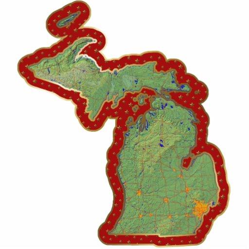 Ornamento del navidad del mapa de Michigan cortado Escultura Fotografica