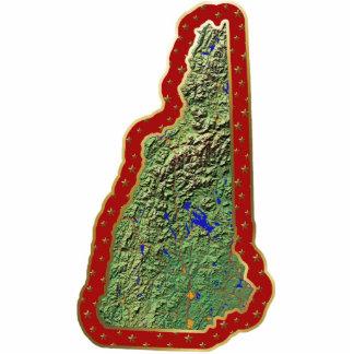 Ornamento del navidad del mapa de New Hampshire Adorno Fotoescultura