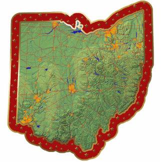 Ornamento del navidad del mapa de Ohio cortado Esculturas Fotográficas