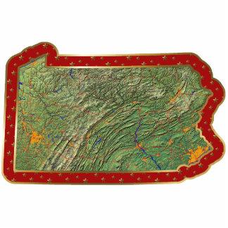 Ornamento del navidad del mapa de Pennsylvania cor Escultura Fotografica