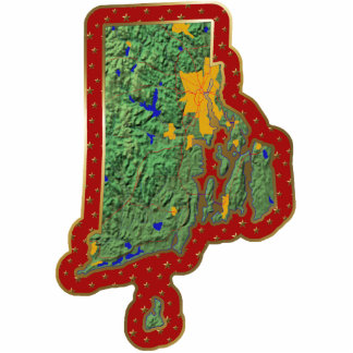 Ornamento del navidad del mapa de Rhode Island cor Esculturas Fotograficas