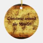Ornamento del navidad del mapa de Viejo Mundo Adorno De Reyes