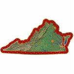 Ornamento del navidad del mapa de Virginia cortado Escultura Fotográfica