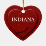Ornamento del navidad del mapa del corazón de Indi Adornos De Navidad