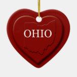 Ornamento del navidad del mapa del corazón de Ohio Adorno Navideño De Cerámica En Forma De Corazón