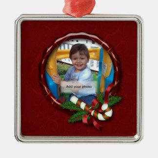 Ornamento del navidad del marco de la foto del adorno cuadrado plateado