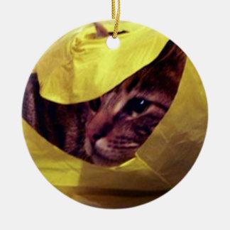 Ornamento del navidad del mascota adorno redondo de cerámica