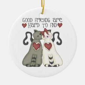Ornamento del navidad del mejor amigo adorno redondo de cerámica