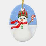 Ornamento del navidad del muñeco de nieve con el b ornaments para arbol de navidad