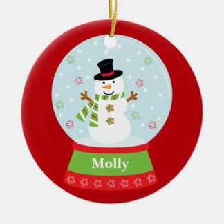 Ornamento del navidad del muñeco de nieve adorno redondo de cerámica