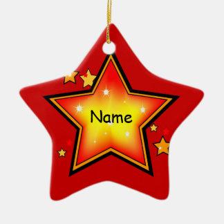 Ornamento del navidad del niño de la estrella adorno de cerámica en forma de estrella
