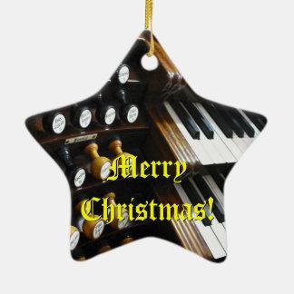 Ornamento del navidad del órgano adorno navideño de cerámica en forma de estrella