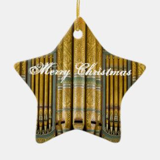 Ornamento del navidad del órgano en verde y oro adorno navideño de cerámica en forma de estrella