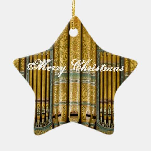 Ornamento del navidad del órgano en verde y oro adornos de navidad