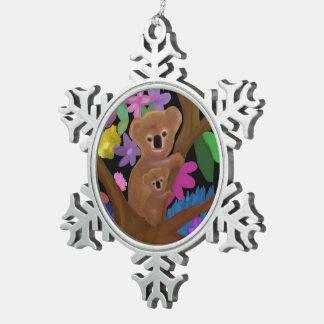 Ornamento del navidad del oso de koala adorno de peltre en forma de copo de nieve