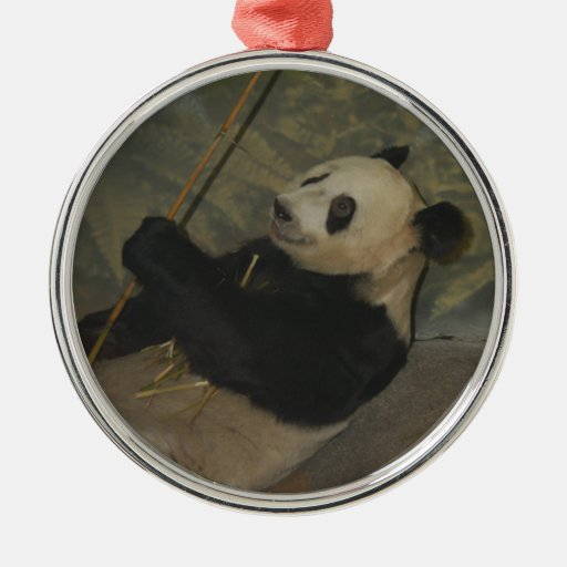 Ornamento del navidad del oso de panda adorno navideño redondo de metal