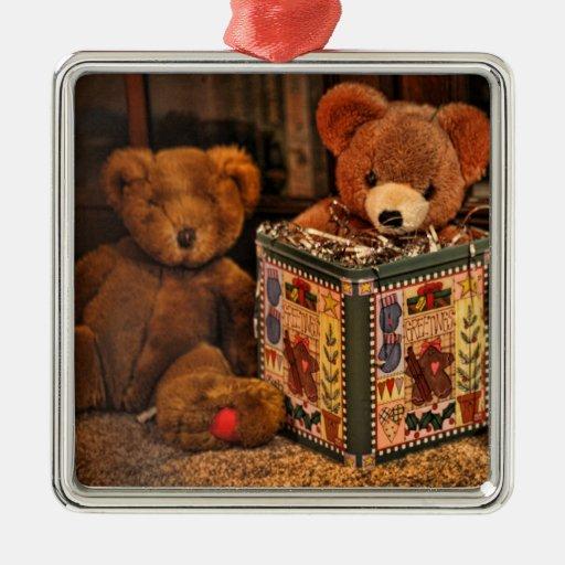 Ornamento del navidad del oso de peluche adorno navideño cuadrado de metal