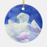 Ornamento del navidad del oso polar adorno navideño redondo de cerámica