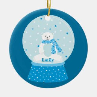Ornamento del navidad del oso polar adorno redondo de cerámica