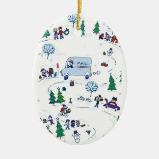 ornamento del navidad del país de las maravillas adorno navideño ovalado de cerámica