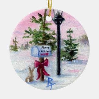 Ornamento del navidad del país de las maravillas adorno navideño redondo de cerámica
