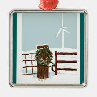 Ornamento del navidad del parque eólico adorno navideño cuadrado de metal