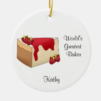 Ornamento del navidad del pastel de queso de la adorno redondo de cerámica