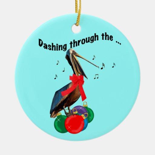 Ornamento del navidad del pelícano del canto adorno navideño redondo de cerámica