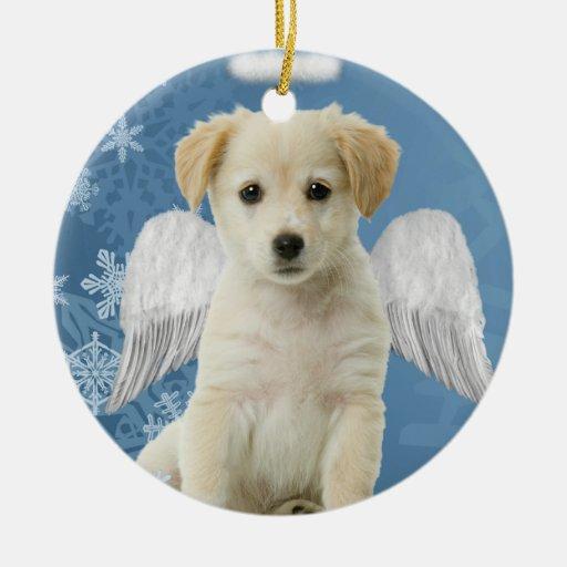 Ornamento del navidad del perrito del ángel adorno navideño redondo de cerámica